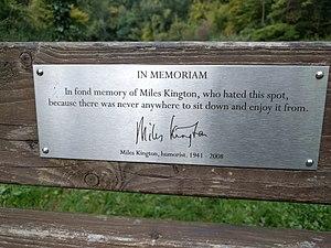 Miles Kington - Plaque on Kington's memorial bench