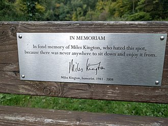 Miles Kington - Plaque on Kington's memorial bench