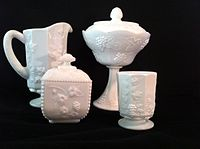 Milk glass- four pieces.JPG