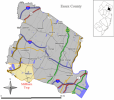 Map highlighting Millburn's location within Essex County. Inset: Essex County's location highlighted within the State of New Jersey.
