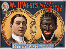 On the left id a head shot of a white male in high white collar, hair combed neatly; on the right is a head shot of man in blackface make-up, exaggerated red lips, frizzly hair, whites of eyes highlighted.