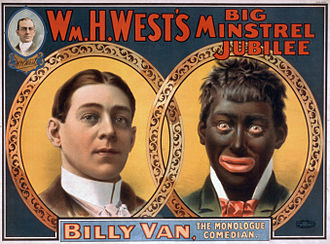 """Stereotypes of African Americans - This reproduction of a 1900 William H. West minstrel show poster, originally published by the Strobridge Litho Co., shows the transformation from """"white"""" to """"black""""."""