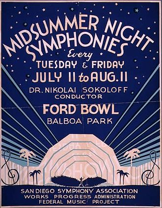 "Federal Music Project - ""Midsummer Night Symphonies"", Southern California Federal Music Project, WPA, ca. 1937"