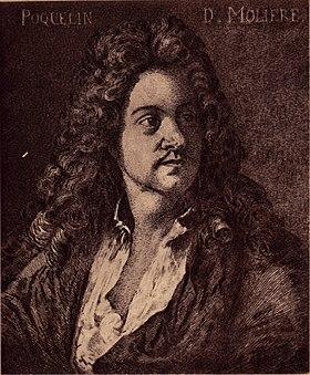 Molière en 1664. Dessin de Charles Courtry, d'après un tableau de Michel Corneille le Jeune.