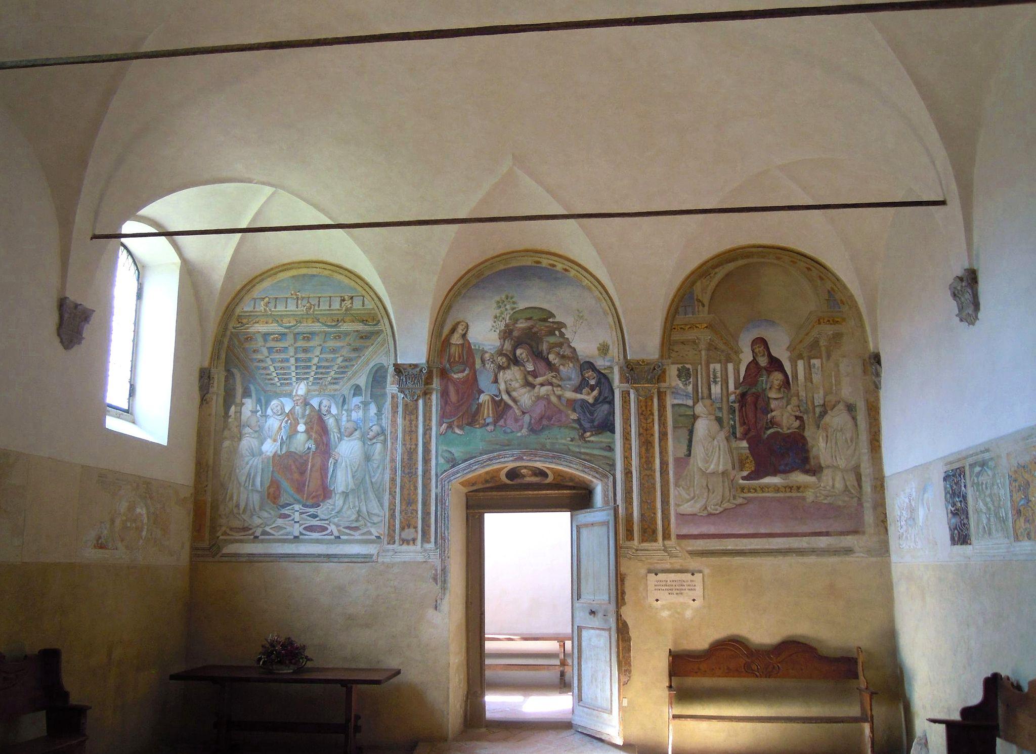 Monastero di Sant'Anna in Camprena, refettorio, interno verso l'ingresso