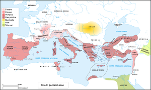 Caesar's Civil War - Roman world in 56 BC, when Caesar, Crassus and Pompey meet at ''Luca'' for a conference in which they decided: to add another five years to the proconsulship of Caesar in Gaul; to give the province of Syria to Crassus and both Spains and Africa to Pompey