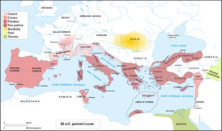 Il mondo romano all'epoca del primo triumvirato e degli accordi di Lucca tra Cesare, Crasso e Pompeo nel 56 a.C.