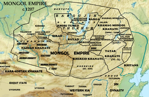 Barga Mongols - Mongol Empire c.1207, showing Bargujin-Tukum