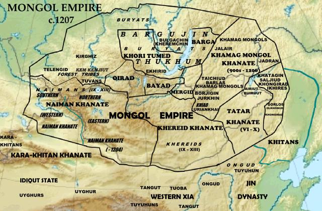 Монгольская империя около 1207г.