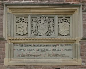 Monmouth School - Plaque describing the foundation of the school