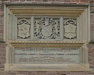 Monmouth School - Plaque describing the foundation of the school