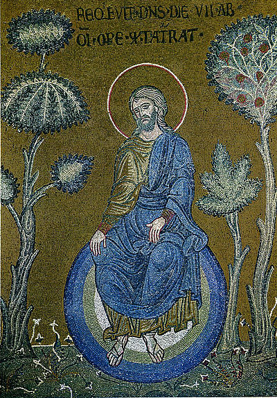 God resting after creation - Christ depicted as the creator of the world, Byzantine mosaic in Monreale, Sicily. Monreale god resting after creation.jpg