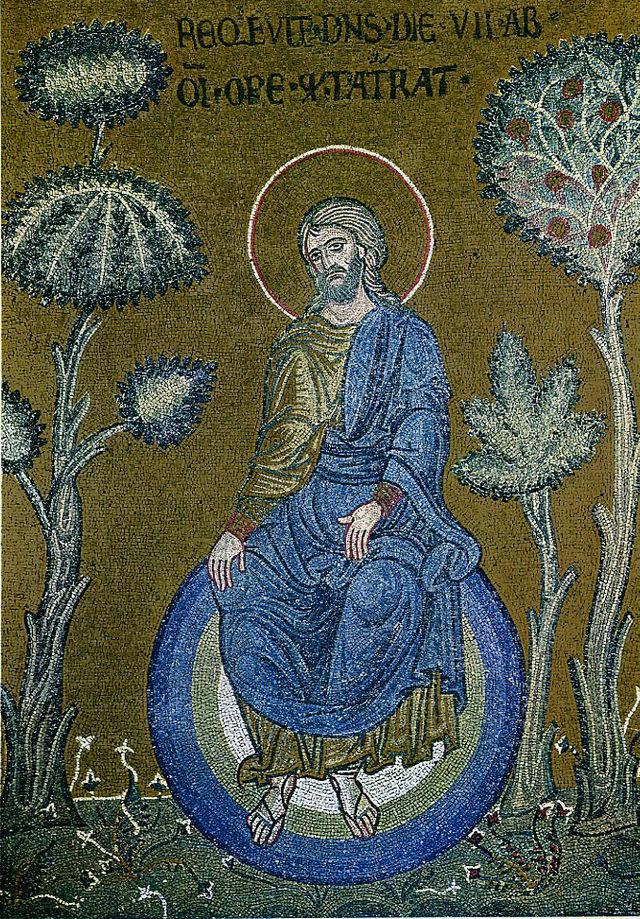 Christ dépeint comme le créateur du monde, mosaïque byzantine dans Monreale , Sicile  dans images sacrée 640px-Monreale_god_resting_after_creation