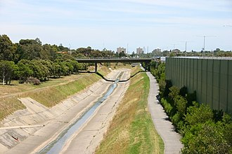 Moonee Ponds Creek - Moonee Ponds Creek as a stormwater drain at Brunswick West.