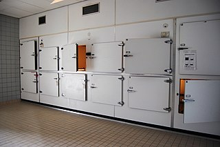 Morgue place for the storage of human corpses awaiting identification or burial