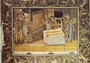 Byzantine music - Image: Mosaic of the Female Musicians
