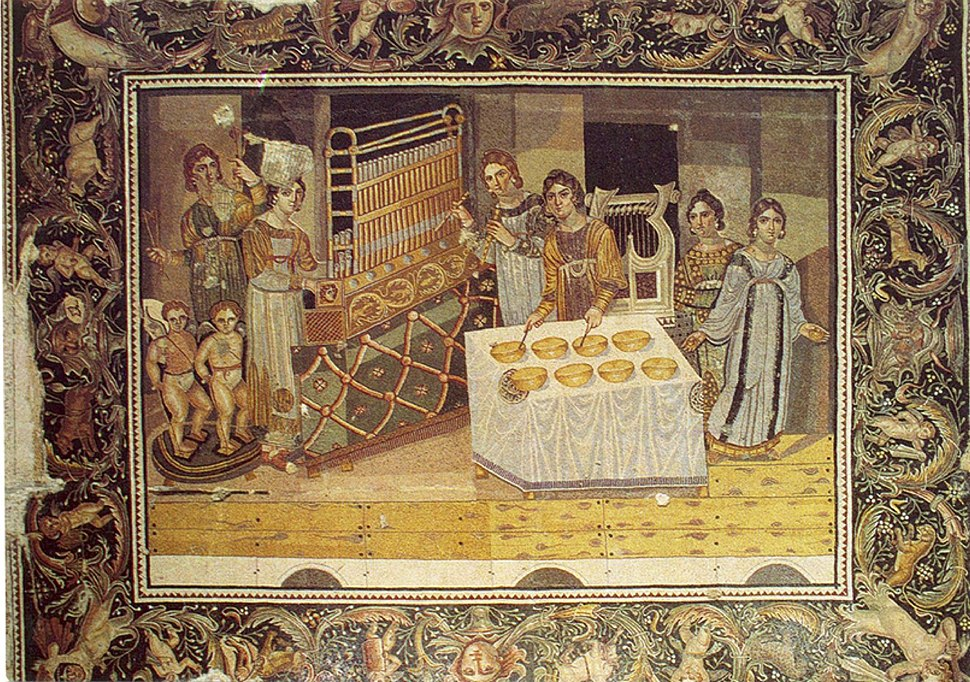 "Late 4th century AD ""Mosaic of the Female Musicians"" from a Byzantine villa in Maryamin, Syria.[2]"