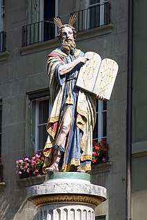 figure fountain from the 18th century on the Münsterplatz in the city of Bern, Switzerland