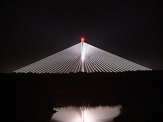 A8 autostrada (Poland) - Image: Most Redzinski z mostu Milenijnego