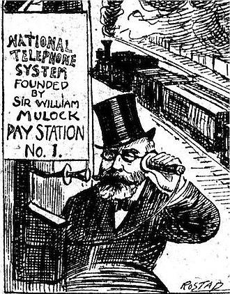 William Mulock - Mulock advocated public ownership of the telephone system. (Toronto Telegram, October 24, 1905)