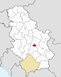 Location of the municipality of Varvarin within Serbia