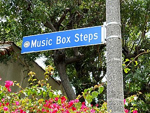 The Music Box - Sign at top of hill, Descanso Drive