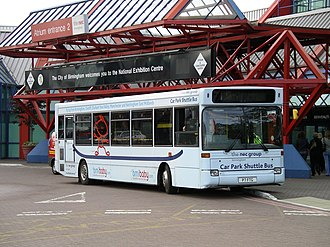 National Exhibition Centre - An NEC Plaxton Pointer 1 bodied Dennis Dart SLF shuttle bus outside atrium entrance 2