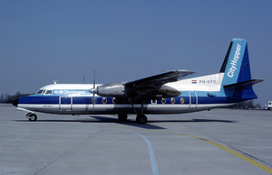 NLM CityHopper - An NLM CityHopper Fokker F27-200 at Euroairport. (1982)