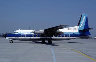 NLM CityHopper - An NLM CityHopper Fokker F27-200 at Euroairport. (1982)