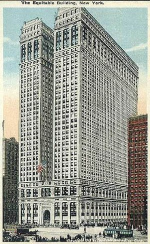 AXA Equitable Life Insurance Company - Equitable Building at 120 Broadway on an old postcard