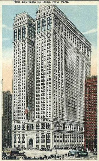 Zoning in the United States - Early postcard picturing the Equitable Building