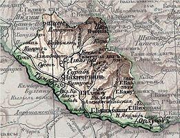 Ордубад (Ордубатъ) в составеНахичеванского уездана карте1903 года