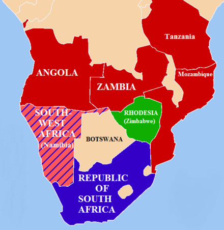 Geopolitical situation, 1978-79. SWAPO allies South African allies South West Africa (Namibia) South Africa NamibianWar1978.PNG