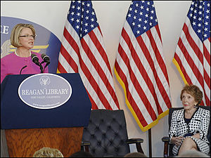 Margaret Spellings - Spellings delivers a speech at the Ronald Reagan Presidential Library; former first lady Nancy Reagan is seated at the right.