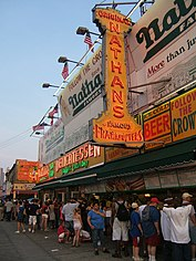 Nathan's Famous hot dog restaurant on the Coney Island boardwalk