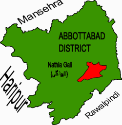 Location of Nathia Gali union council (highlighted in red) within Abbottabad district
