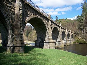 Neidpath Viaduct - Neidpath skew viaduct, built to carry the Symington–Peebles branch line of the Caledonian Railway over the River Tweed