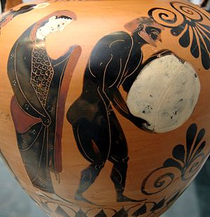 Tartarus - Persephone supervising Sisyphus in the Underworld, Attic black-figure amphora, c. 530 BC