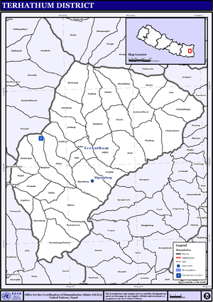 Tehrathum District - Map of the VDCs in Terhathum District