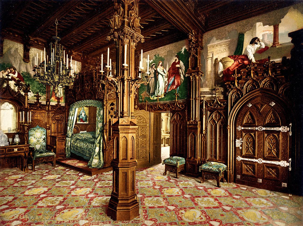 Dormitorio del rey en un fotocromo del siglo XIX