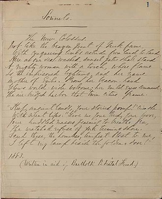 The New Colossus - Emma Lazarus's manuscript