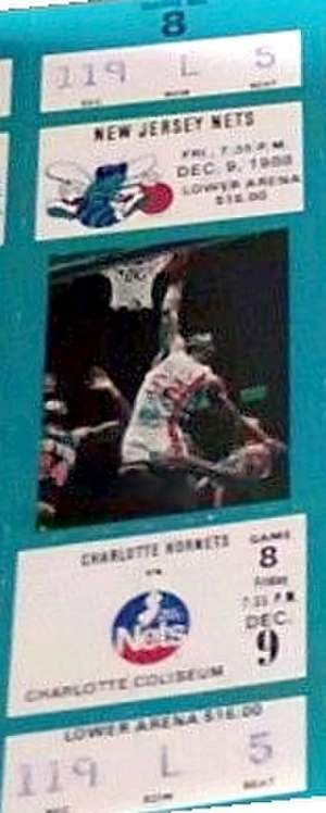 History of the Brooklyn Nets - A ticket for a December 1988 game between the Nets and the Charlotte Hornets.