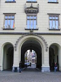 New Town Hall Photo Sukiennice Street Gateway Wrocław Poland 2008-11-14.JPG