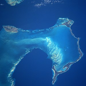 Eleuthera - NASA satellite image, showing New Providence Island to the west, and east of it, the long, narrow island of Eleuthera running north and south (along with its associated Harbour and other small islands), as seen from space in 1997.