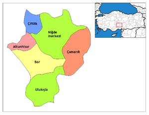 Çiftlik, Niğde - Image: Niğde districts