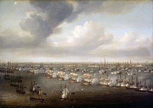 Battle of Copenhagen (1801) - The Battle of Copenhagen, as painted by Nicholas Pocock. The British line is diagonally across the foreground, the city of Copenhagen in the background and the Danish line between. The ships in the left foreground are British bomb vessels.