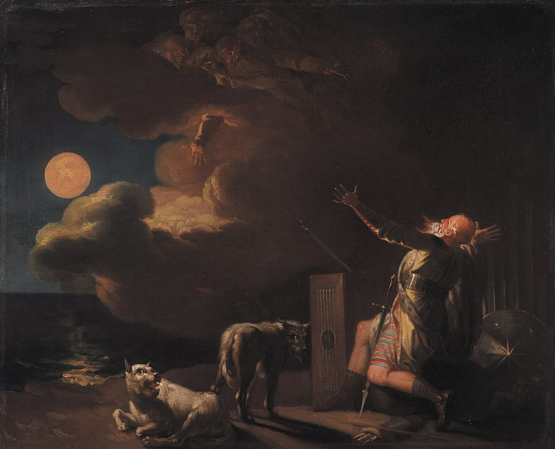 Nicolai Abildgaard - Fingal Sees the Ghosts of his Forefathers by Moonlight - KMS3986 - Statens Museum for Kunst