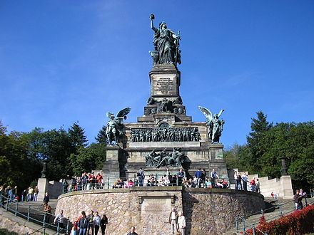 Germania, also called the Niederwald Monument, was erected in 1877–83 at Rüdesheim.