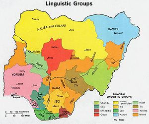 Efik people - Ethno-linguistic groups in Nigeria. Efik-Ibibio in burgundy at bottom.