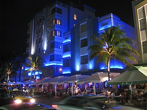 Architecture at night - South Beach, Miami, Fl...